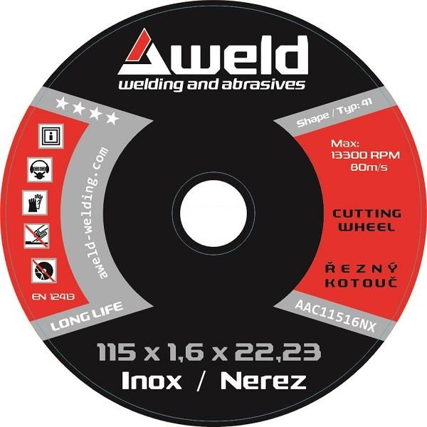 Cutting wheel Aweld CW 115x1,6x22,23 mm, stainless steel