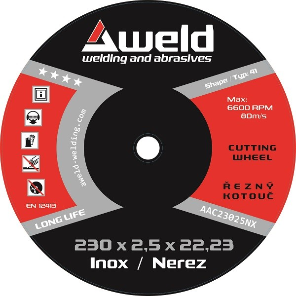Cutting wheel Aweld CW 230x2,5x22,23 mm, stainless steel