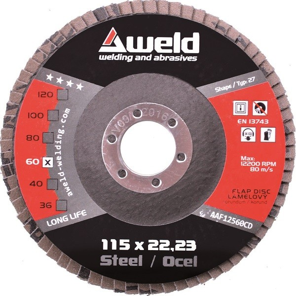 Flap disc Aweld FD 115/60 - corundum, steel