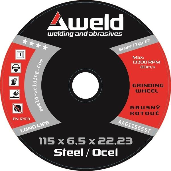 Brusný kotouč Aweld GW 115x6,5x22,23 mm, ocel