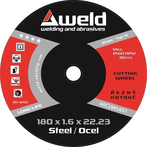 Řezný kotouč Aweld CW 180x1,6x22,23 mm, ocel