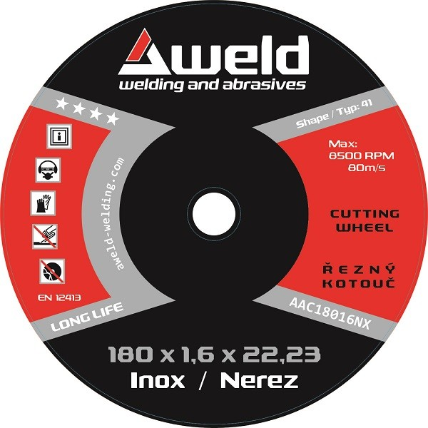 Řezný kotouč Aweld CW 180x1,6x22,23 mm, nerez